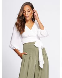 New York & Company - Gabrielle Union Collection - Tall Crop Tie-front Blouse - Lyst