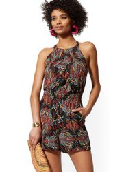 New York & Company - Black Multicolor-print Halter Romper - Lyst