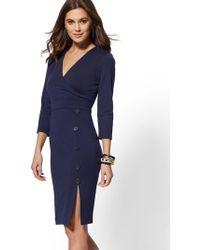 d82209d7a9 New York   Company - Button-accent Ponte Wrap Sheath Dress - 7th Avenue -