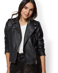 New York & Company - Embossed Cable-knit Moto Jacket - Lyst