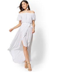 dcae37bd86 New York   Company - Pom-pom Trim Off-the-shoulder Maxi Dress