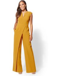 New York & Company - 7th Avenue - Seamed Wrap Jumpsuit - Lyst