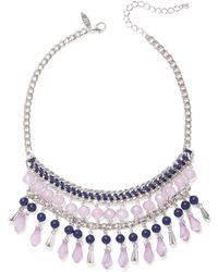 New York & Company - Beaded Silvertone Statement Necklace - Lyst