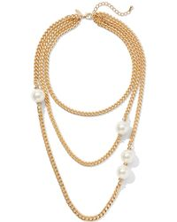 New York & Company - Goldtone Chain-link Faux-pearl Necklace - Lyst