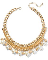 New York & Company - Goldtone Faux-pearl Collar Necklace - Lyst