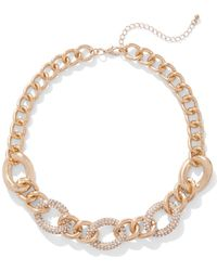 New York & Company - Pave Goldtone Chain-link Necklace - Lyst