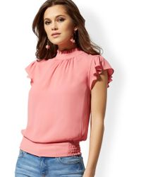 New York & Company - Ruffled Flutter-sleeve Top - Lyst