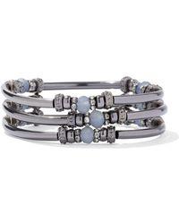 New York & Company - 3-row Silvertone Beaded Bracelet - Lyst