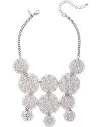 New York & Company - Silvertone Filigree Statement Necklace - Lyst