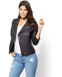 New York & Company - Knit-inset Faux Leather Moto Jacket - Lyst