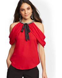 Lyst New York Company 7th Avenue Dot Print Cold Shoulder