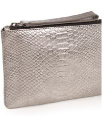 Oasis - Leather Lily Snake Purse - Metallic Pewter - Lyst
