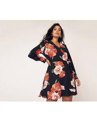 dedcc634786b Oasis - Multi Red Curve Botanical Scarf V Neck Skater Dress - Lyst