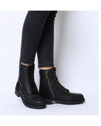 925776bf4e5 UGG Kilmer Exposed Fur Leather Lace Up Boots in Black - Lyst