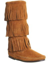Minnetonka Calf Hi 3 Layer Fringe Boots - Brown