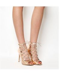 3f1e23d4e1fb Office Popsicle Lace Up Strappy Heels in Natural - Lyst