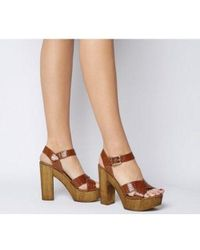 9cc4722cc Elizabeth and James Bax Leather and Wood Platform Sandals in Brown ...