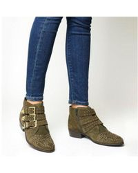 Office - Lucky Charm Studded Buckle Western Boots - Lyst