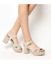 Office - Montana Platform Cross Strap Block Heels - Lyst