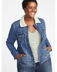65d1a618114 Old Navy - Sherpa-lined Plus-size Denim Jacket - Lyst