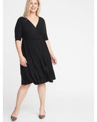 2d09c868ca0 Old Navy - Waist-defined Faux-wrap Jersey Plus-size Dress - Lyst