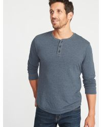 Old Navy - Double-knit Long-sleeve Henley - Lyst