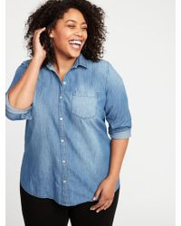 f5bf3993 Old Navy Classic Plus-size Button-front Shirt in Blue - Lyst