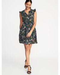 55675d617bf Old Navy Waist-defined Flutter-sleeve Plus-size Dress in Black - Lyst