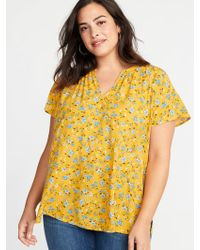 052b0d019ff Old Navy - Printed Split-neck Cocoon Plus-size Blouse - Lyst
