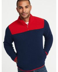 Old Navy - Color-blocked 1/4-zip Sherpa Popover - Lyst