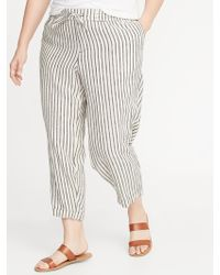 6e0f028462 Old Navy - Mid-rise Plus-size Striped Linen-blend Cropped Pants -