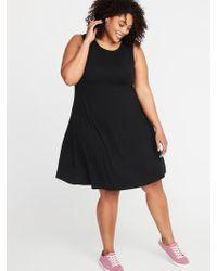 3b94e3ea560d Lyst - Old Navy Sleeveless Plus-size Jersey-knit Swing Dress in Black