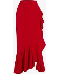 Adam Lippes - Silk Crepe Ruffle Cascade Skirt - Lyst