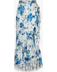 Adam Lippes - Floral Hammered Silk Skirt - Lyst