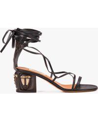 bf168dd7f0b Lyst - Valentino Tribe Leather Block Heel Sandal in Black