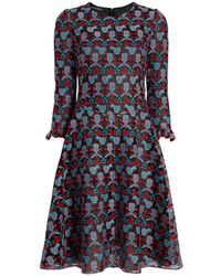 Emporio Armani - Pleated Dress In Cyber Lace - Lyst