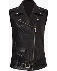 VEDA - Castor Classic Leather Vest Black - Lyst