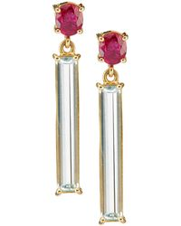 Yi Collection - Ruby And Aquamarine Bar Earrings - Lyst