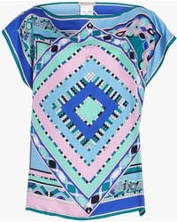 Emilio Pucci - Postcards Printed Silk Foulard Top - Lyst