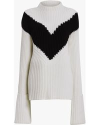 Derek Lam - Ribbed Chevron Mockneck Sweater - Lyst