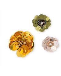 Oliver Bonas - Amalea Sequin & Bead Flower Brooches Set Of Three - Lyst
