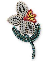 Oliver Bonas - Blossoming Flower Beaded Brooch - Lyst