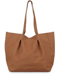 Lyst - Burberry Stitch trimmed Tapered Tote Bag in White 3e7ef86aa3107
