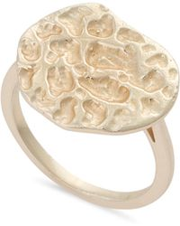 Oliver Bonas - Mia Textured Disc Gold Plated Ring - Lyst