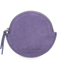 Oliver Bonas - Belle Circle Purple Suede Leather Pouch - Lyst