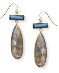 Oliver Bonas - Ngaro Statement Duo Stone Drop Earrings - Lyst
