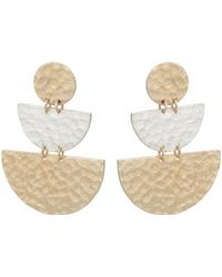 Oliver Bonas - Liv Semi Circle Silver & Gold Plated Drop Earrings - Lyst