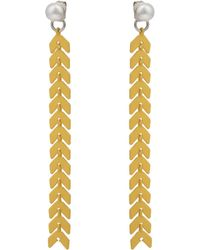 Oliver Bonas - Positivity Pearl & Chevron Chain Front To Back Earrings - Lyst