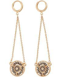 Oliver Bonas - Swing Bead & Chain Huggie Drop Earrings - Lyst
