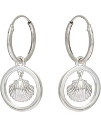 Oliver Bonas - Maille Tiny Shell Silver Huggie Earrings - Lyst